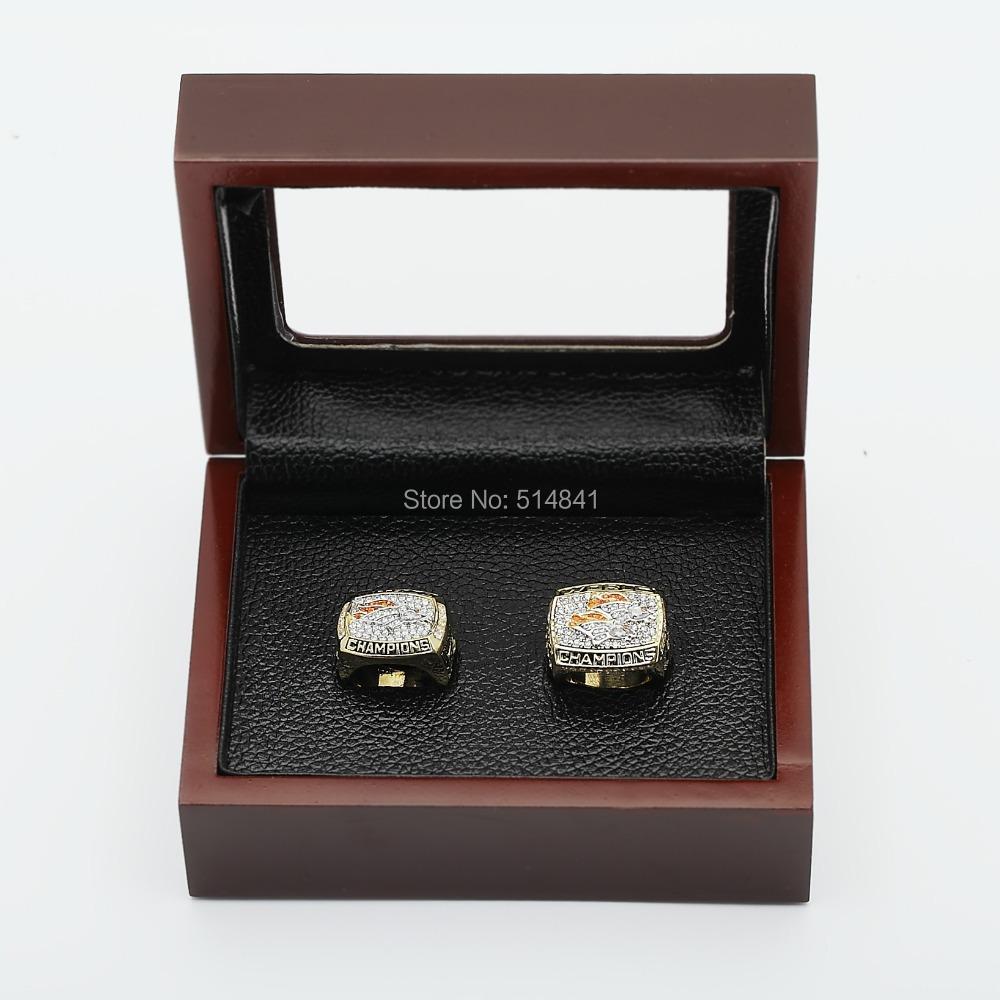 NFL 1996,2001 Denver Broncos SUPER BOWL CHAMPIONSHIP REPLICA FAN RINGS FULL SET 100% copper TWO(2PCS) - arky chen's store