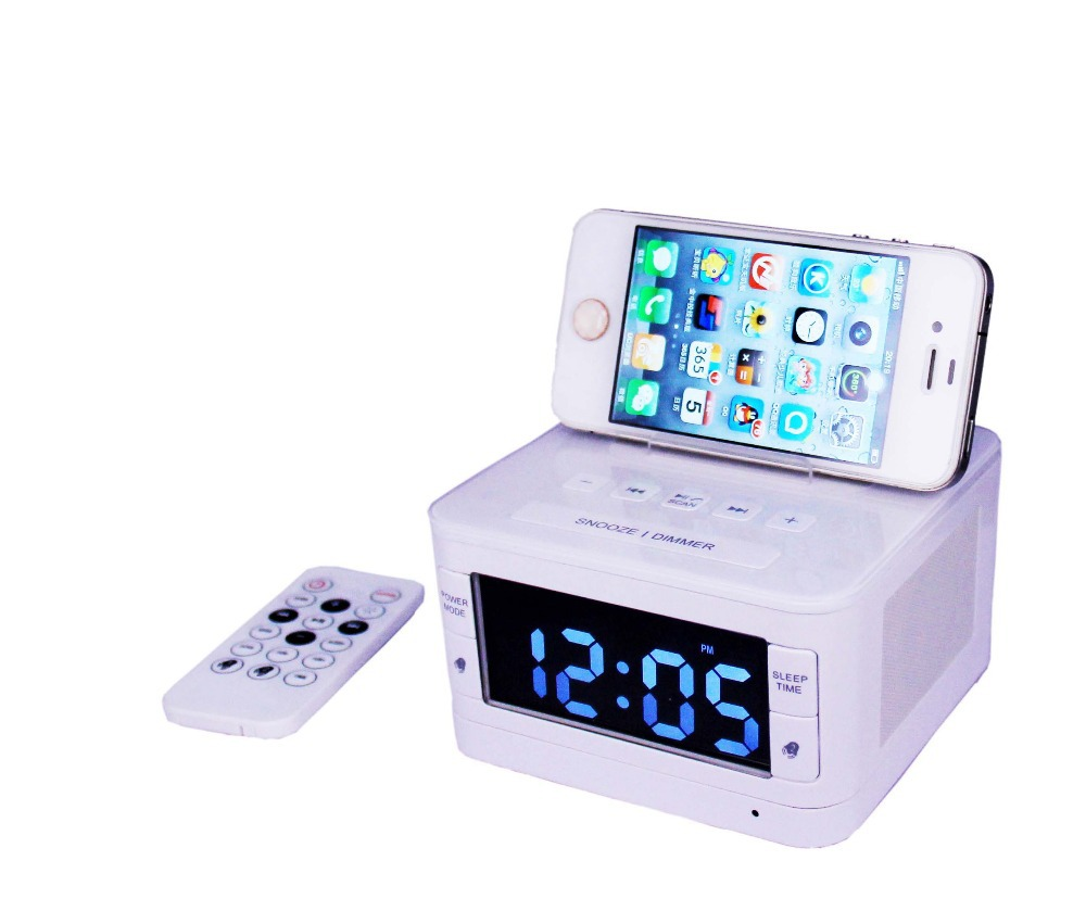 Portable loudspeaker New KT-B7 speaker dock station for apple ipod//touch/iphone 4/4s/5/5s FM radio clock remote control(China (Mainland))