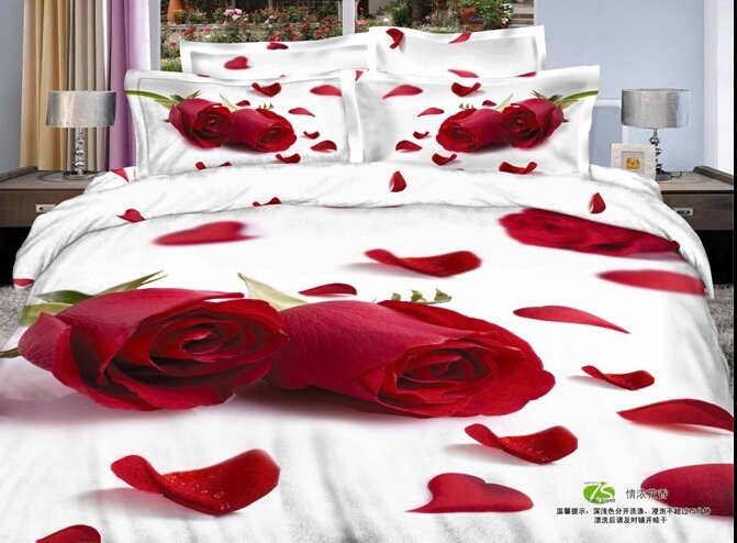 red rose flowers comforter sets white bed linen roupa de cama bedding sets luxury bed sheets edredon comforters and quilts(China (Mainland))