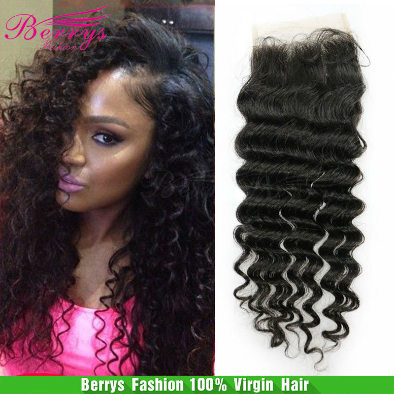 """Top Lace Closure Brazilian Virgin Hair deep curly (4""""*4"""") 6A grade unprocessed hair Human hair weave,Berrys Hair Products(China (Mainland))"""