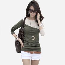 2013 Hot selling autumn patchwork long-sleeve T-shirt basic shirt plus size slim round neck T-shirt free shipping LSH9008LBR