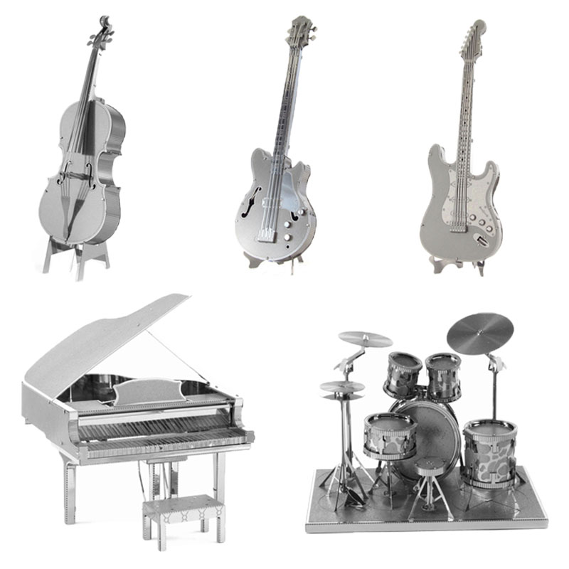 3d Metal Puzzles Diy Model Musical Instrument Violoncello Piano Drum Band Bass Gitar Children Jigsaws Hot Toys Kids Gifts Puzzle(China (Mainland))