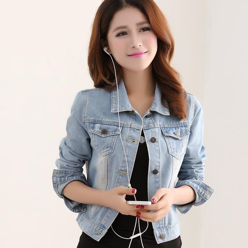 Fashion 2016 Autumn Winter Vintage blue Womenu0026#39;s Jeans Denim Jacket Women Short Jean jackets and ...