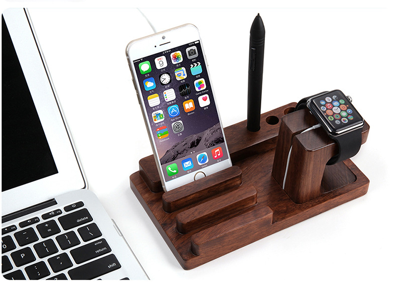 Rosewood Charge Dock Holder Stand for Apple Watch & Docking Station Cradle Bracket for iPhone 6S iPad & Other Phones Tablets(China (Mainland))