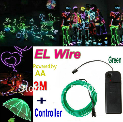 3M Flexible Neon Light DIY EL Wire Rope Tube for Dance bar Festival Eyecatchy Fancy Dress Party EL cable rope+Controller GREEN(China (Mainland))