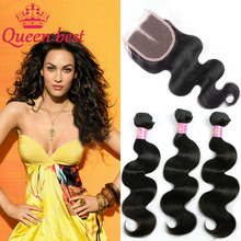 Brazilian Body Wave With Closure Brazilian Virgin Hair 3 Bundles With Closure Queen Hair Lace Closure Human Brazilian Closure(China (Mainland))