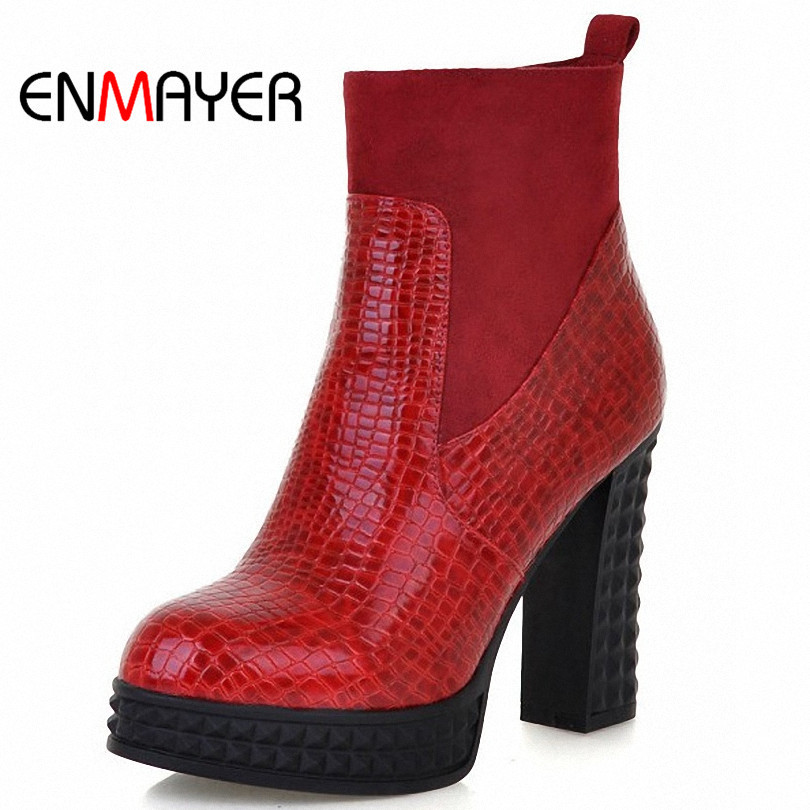 ENMAYER New 2015 Women High Boots Sexy Round Toe Ankle Boots Winter