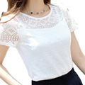 The New Printed Chiffon Shirt Lace Female Korean 2016 Women Clothing Women Shirts Print Floral White