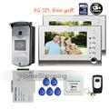 FREE SHIPPING BRAND New 7″ Color Screen Video Door Phone Intercom System + 2 White Monitor + Outdoor RFID Reader Doorbell Camera