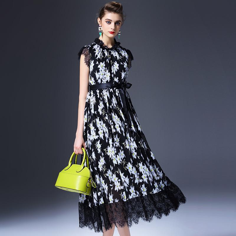 Summer dress new 2016 women dress short sleeve patchwork lace long brand runway vintage dress high end robe Q6289