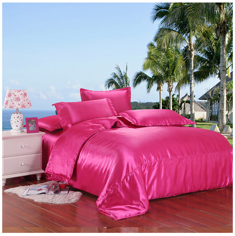 Rose red silk bedding 2sides silk bedding set satin silk bedsheet pillow cases bed quilt cover silk wedding bedding covers 5038(China (Mainland))