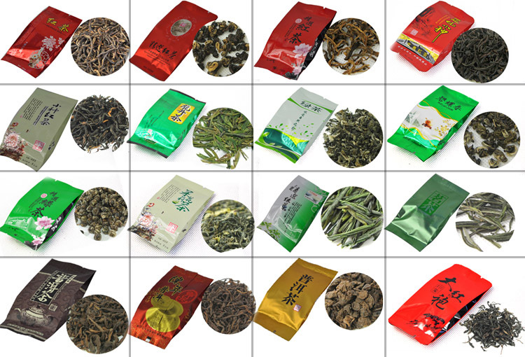 24 Different Flavor Chinese Tea including Black Green Jasmine Flower Tea Puerh Oolong Tieguanyin Dahongpao M01