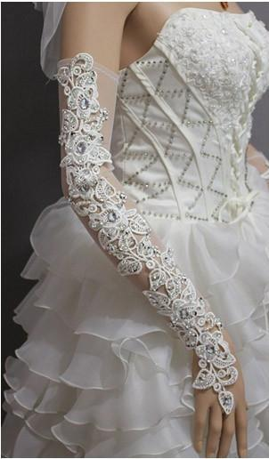 Fashion Long White Rhinestone Beaded Applique Wedding Bridal Gloves Fingerless Wedding for Brides