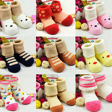Free Shipping Lovely Cartoon Newborn Baby Girl Boy Anti-slip Socks Slipper Shoes Boots 0-12 Months