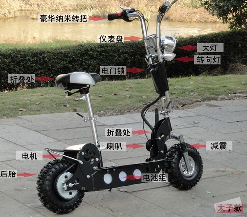 Two rounds of luxury electric scooter electric bicycle Folding scooter electric vehicles