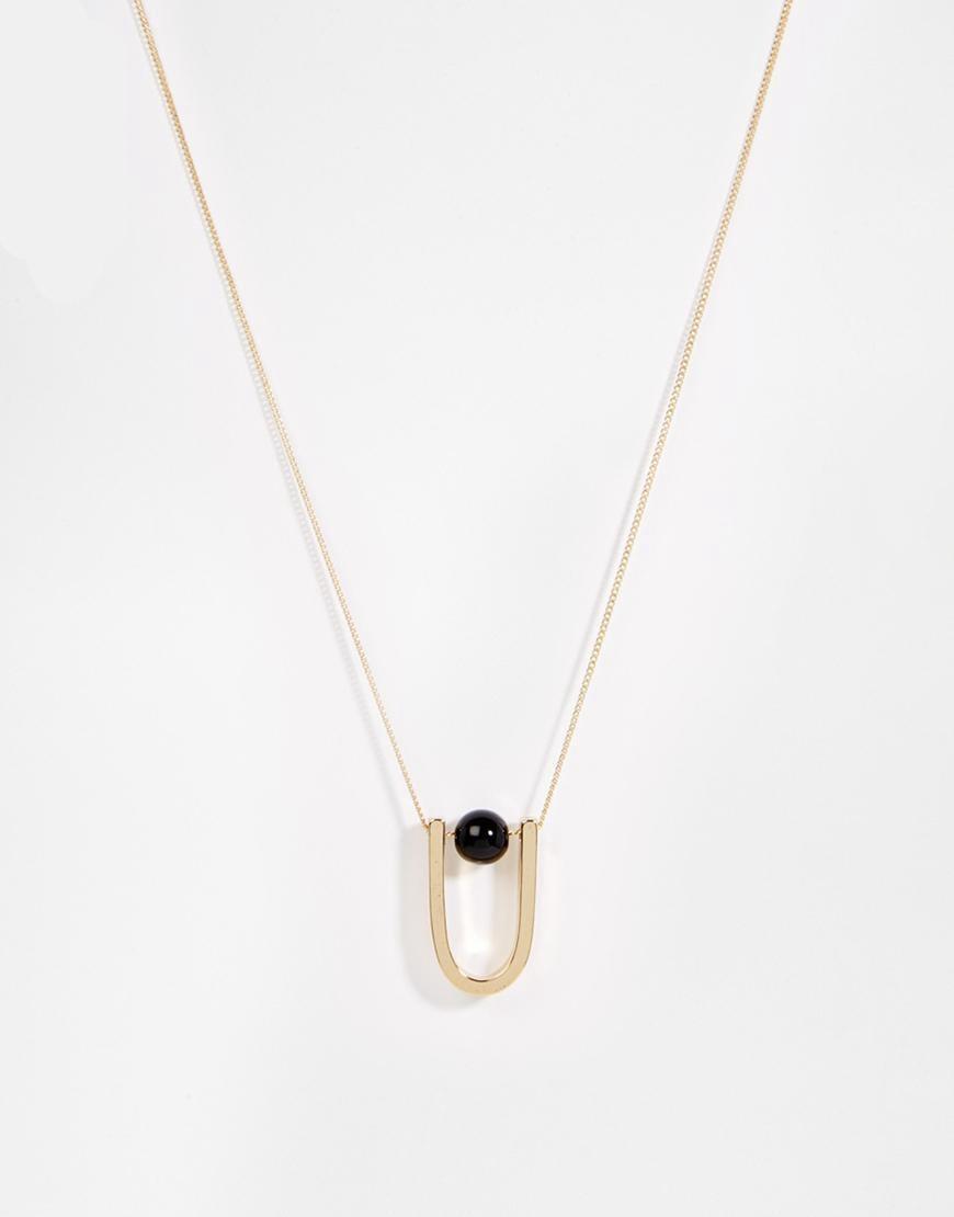 Wholesale U Shape Pendant Necklace Gold Alloy U Horseshoe&Black Glass Ball Short Chain Pendant Necklace for Women SFN161(China (Mainland))