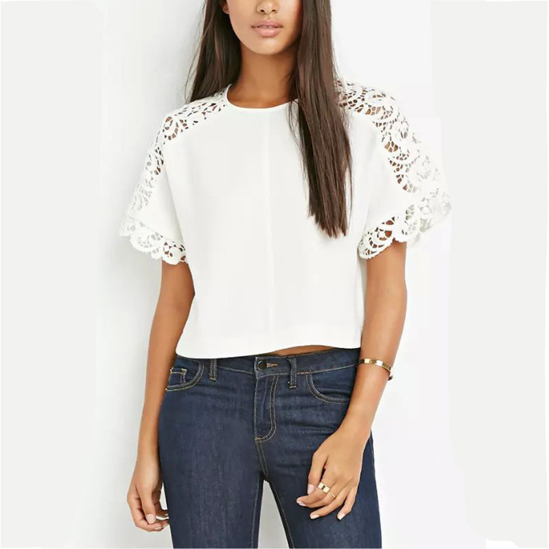 2016 Summer Tops Tees Short Sleeve Chiffon Crochet Lace T-Shirt Women White T shirt  Crop Top Casual Loose tshirt femaleОдежда и ак�е��уары<br><br><br>Aliexpress