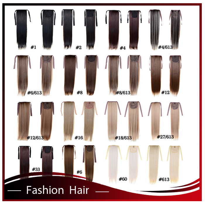 Synthetic Straight Ponytail 22inch 100g Clip In Ponytail Hair Extension HairPiece16 Color For Choice Fiber Hair Ribbon Ponytail(China (Mainland))