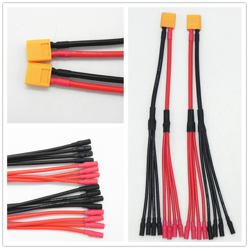 50pcs/lot XT60 Female Connector to 4 OR 6* 3.5mm Banana Female Parallel Charger Cable Extension Y Splitter DZ0132(China (Mainland))