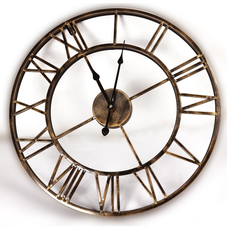European Retro Wrought Iron Wall Clock Creative Mute Quartz 100-M1137(China (Mainland))