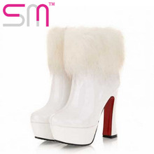 fashion 2016 high thin heels red boot platform boots elegant rabbit fur winter boots platform ankle patent leather boots women