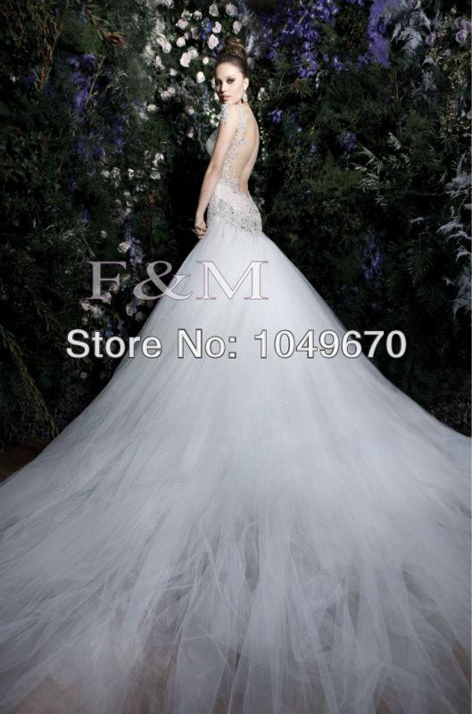 High quality 2014 v neck backless wedding dresses lace for Wedding dress designer m