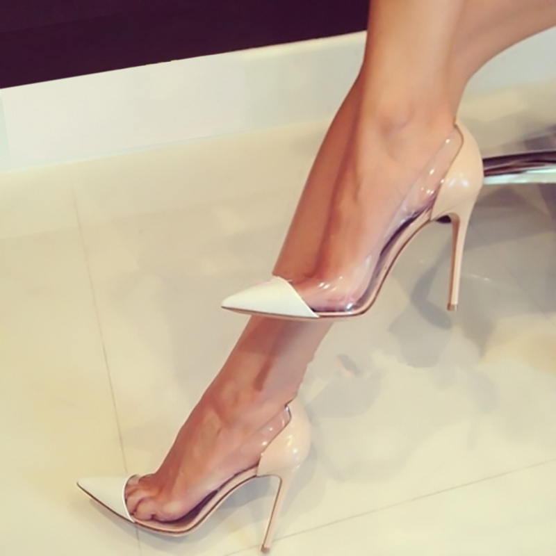 2015 Transparent PVC Pointed Toe Wedding Runway Pumps Size 11 Red ...