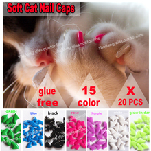 Buy 20pcs/lot Cat nail Caps soft cat paw free glue xs s m l for $2.83 in AliExpress store
