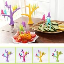 1 Set Candy Color Fruit Forks Tree Branches Bird Shape PP Plastic Safty Dine Fork for Kitchen Snack Dessert Forks Home Tools(China (Mainland))