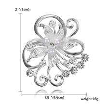 Rinhoo Fashion Wanita Besar Bros Wanita Kepingan Salju Mutiara Imitasi Berlian Imitasi Kristal Pernikahan Bros Pin Perhiasan Accessorise(China)