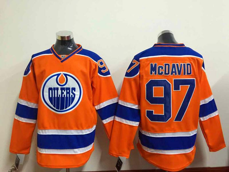 2015 No.1 Draft Pick Edmonton Connor McDavid Jersey Blue White Orange Color Cheap #97 Connor McDavid Stitched Ice Hockeys Jersey(China (Mainland))