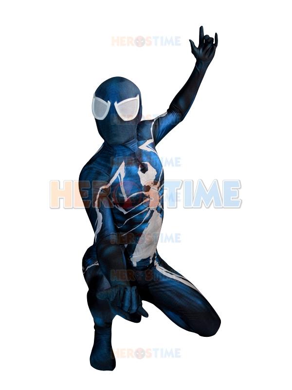 Custom made Spiderman costume 2016 Digital Printing blue white spiderman costume Symbiote cosplay spiderman costume(China (Mainland))