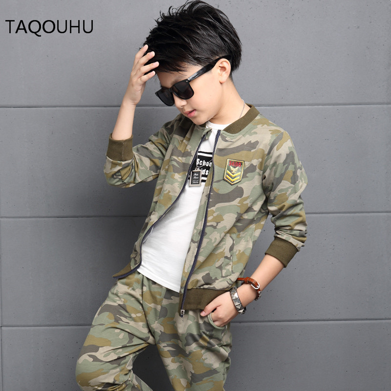 Kids Camouflage Sets Boys Suit Casual Handsome Army Green Camouflage Clothes Korean Cartoon Joong-ki Song Pattern Clothes 2016(China (Mainland))