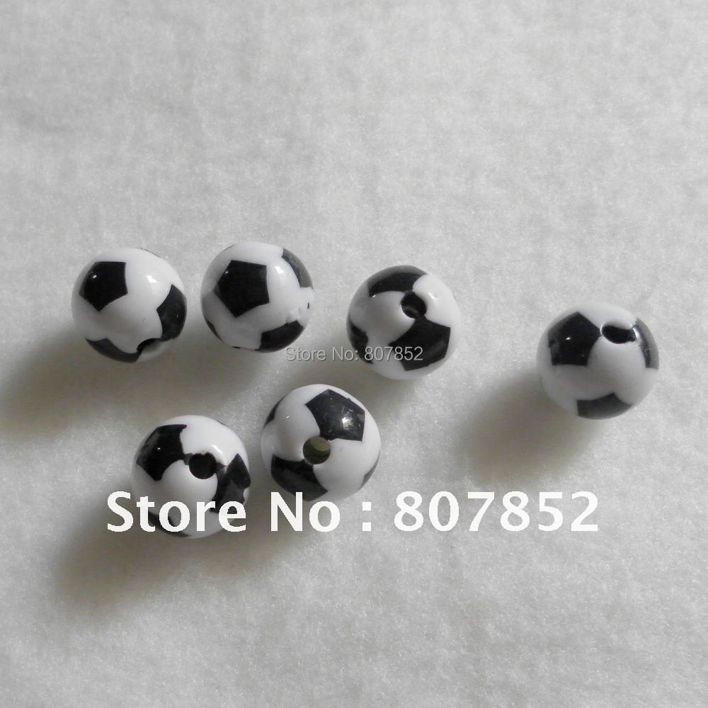 (Wholesale) DHL  free shipping, HF-001 White 12mm 1000pcs Plastic Soccer Bead, Football Bead, Sport Bead, Fashion DIY Beads