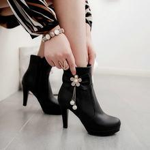 Kadın Botları Pu Deri Kare Yüksek Topuklu yarım çizmeler Platformu Yay Fermuar Kış Bayan Ayakkabı Artı Boyutu 2018 Beyaz Siyah Pembe(China)