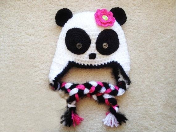 Newborn Baby girl Crochet Knit panda beanie Hat in white and black nb gift baby Photo Prop(China (Mainland))