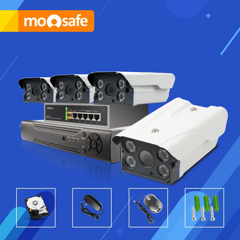 Mosafe 4ch cctv camera system, 4 POE cameras, support 802.3at/af motion detection with email alarm. p2p cloud service, 2tb hdd.(China (Mainland))