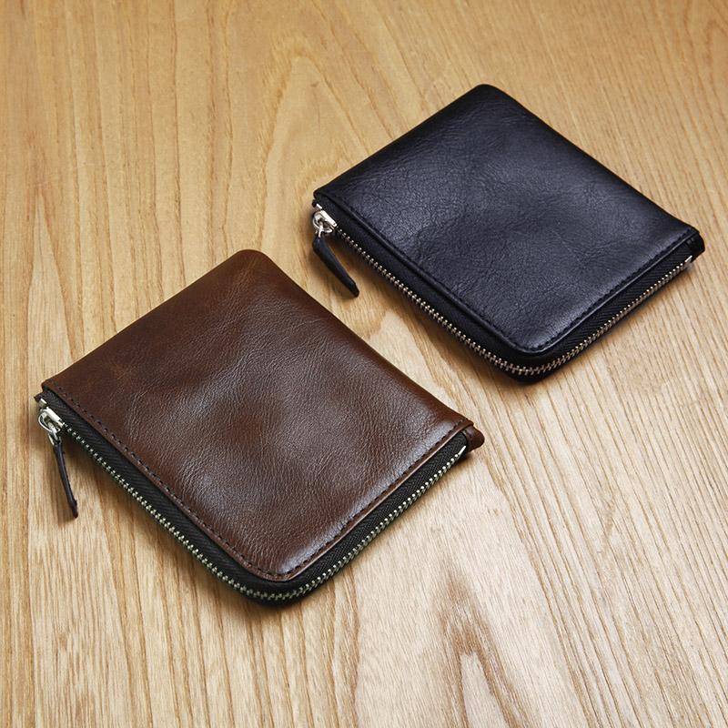 LAN men's leather wallet handmade mini purse brand casual zipper pocket wallet(China (Mainland))
