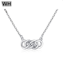 Classic Real 925 Sterling Silver Link Chain Forever Infinite Love Pendant Necklace Round Rhinestone Women Crystal Jewelry PN262