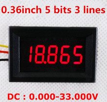dhl/fedex 100.36 inch 5 bits Digital Voltmeter DC 0-33.000V Red LCD display Vehicles Motor Voltage Panel Meter - Factory Mall store