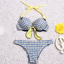 2016 Sexy Swimwear Padded High Quality Triangle Chequer Bikini Set Beach Swimwear Women Swimsuit Bathing Suit Brazilian F46