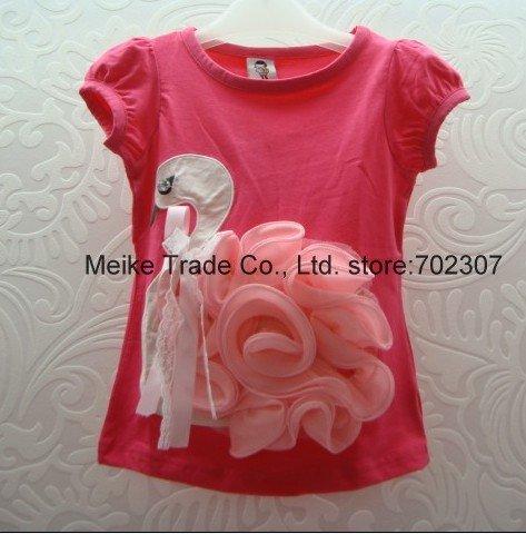 2012 new Free  shipping 100%cotton  b2w2baby short sleeve flower t-shirt girls  t-shirt 5pcs/lot 9058 hot pink<br><br>Aliexpress