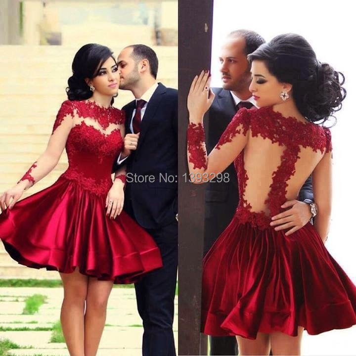 2014 New Beautiful Free Shipping Vestidos Sheer Long Hing neck A line Sleeves Short Red Celebrity Dresses Prom Dresses 2014(China (Mainland))