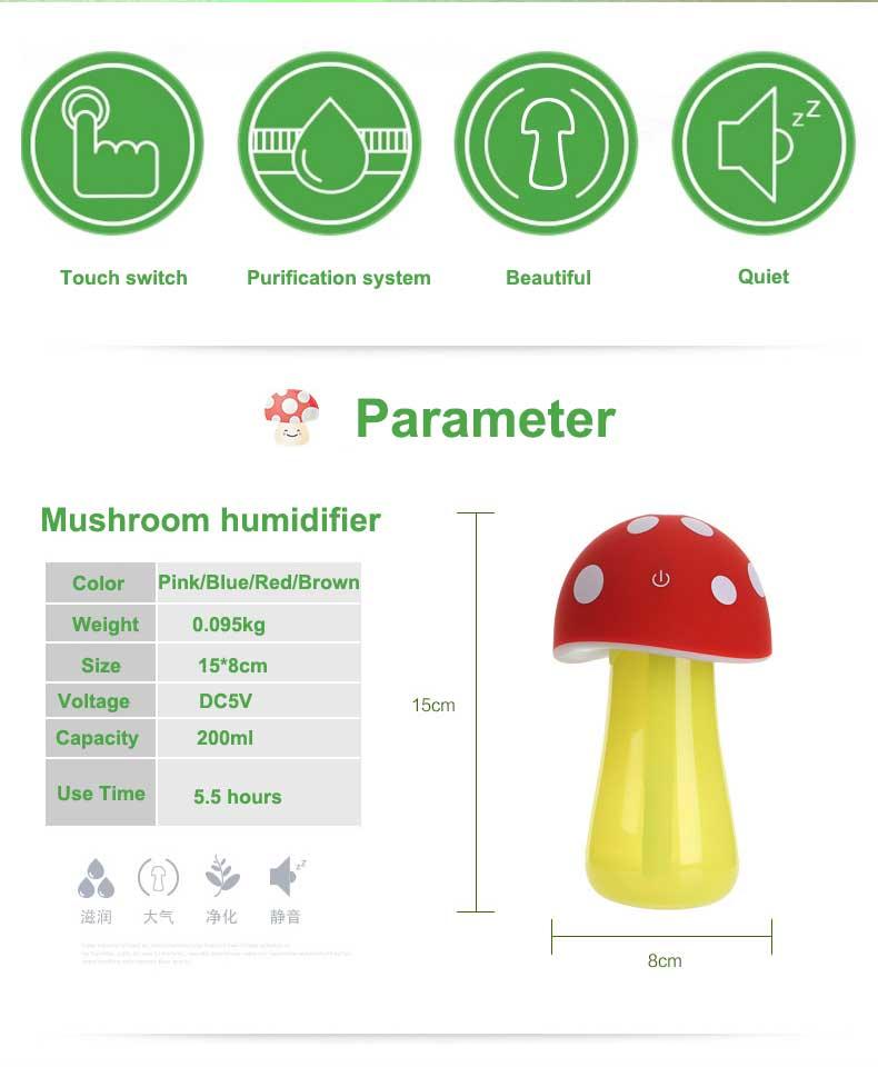 Xeoleo Mini Karikatür nemlendirici Ultrasonik nemlendirici USB Mantar nemlendirici LED Işık Mist Maker Hava Difüzör Arıtma Atomizer