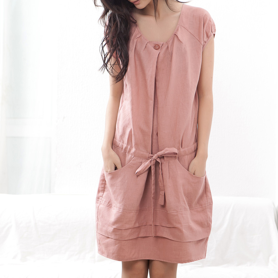 Packages mailed the new summer 2015 cotton fiber art, is a round collar draw string thin linen dress dress with short sleeves(China (Mainland))