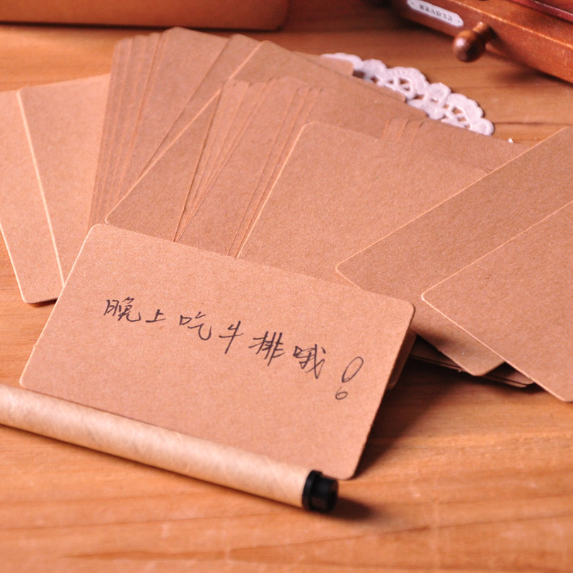 9*5.3cm creative retro boxed blank DIY cards graffiti word card fillet thickened kraft paper(China (Mainland))