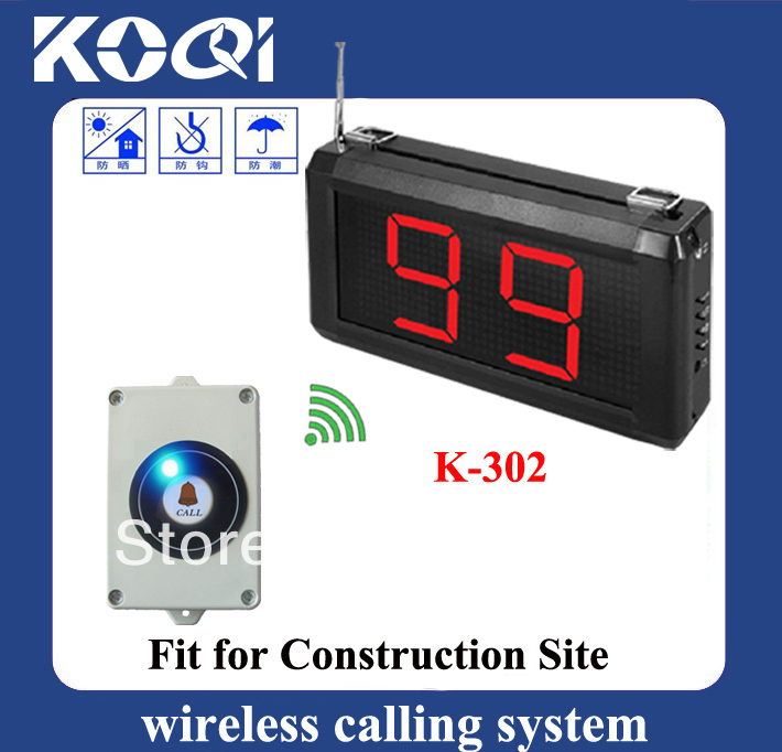 Construction personal paging system wireless pager system of 1pc Display receiver and 10pcs Lift bell button free shipping free(China (Mainland))