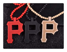 Women's Wooden Pendant Jewelry Necklace Letter P Good Wood Hip Hop Jewelry Nyc 3 Colors Mixed Fashion Necklace Wholesale Price (China (Mainland))