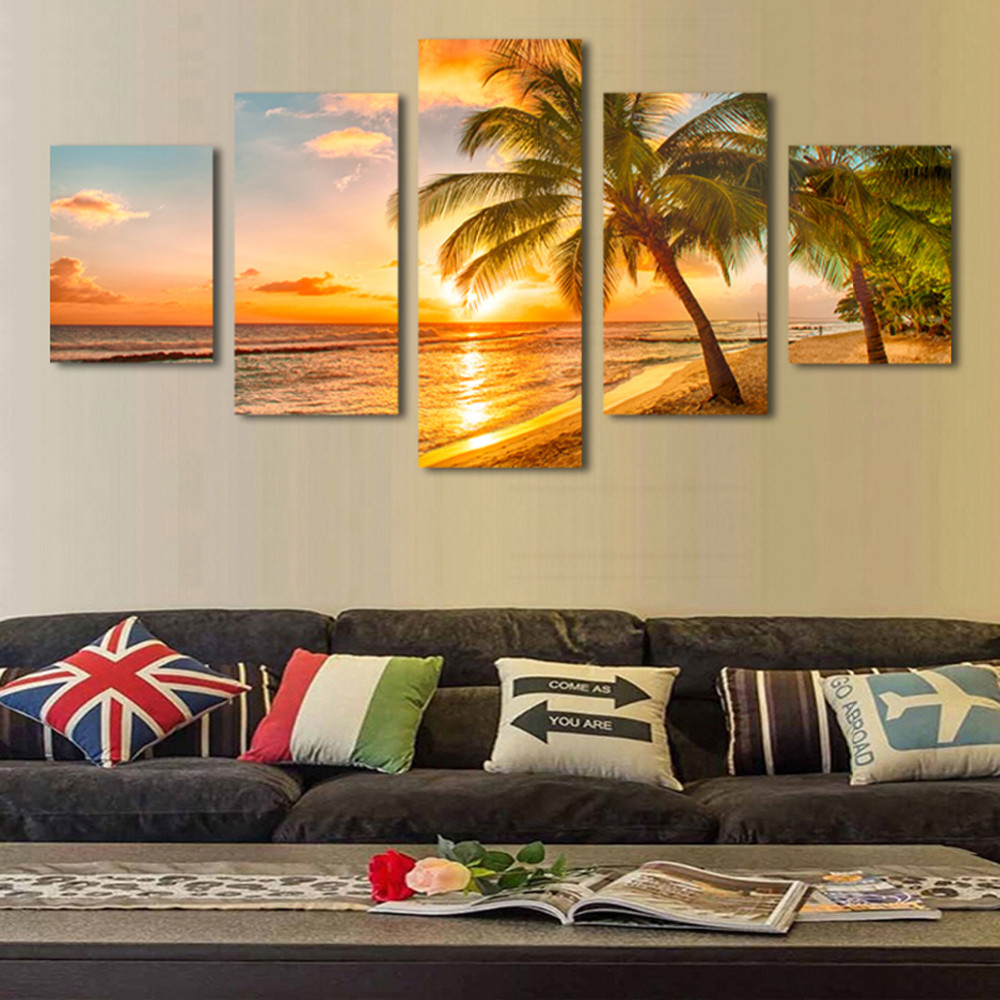 5pcs Print Poster Canvas Wall Art Sunrise Sea Coconut