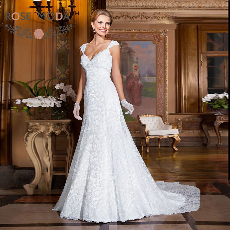 Sexy v neck cap sleeves slim lace a line wedding dress for Heavy beaded wedding dresses
